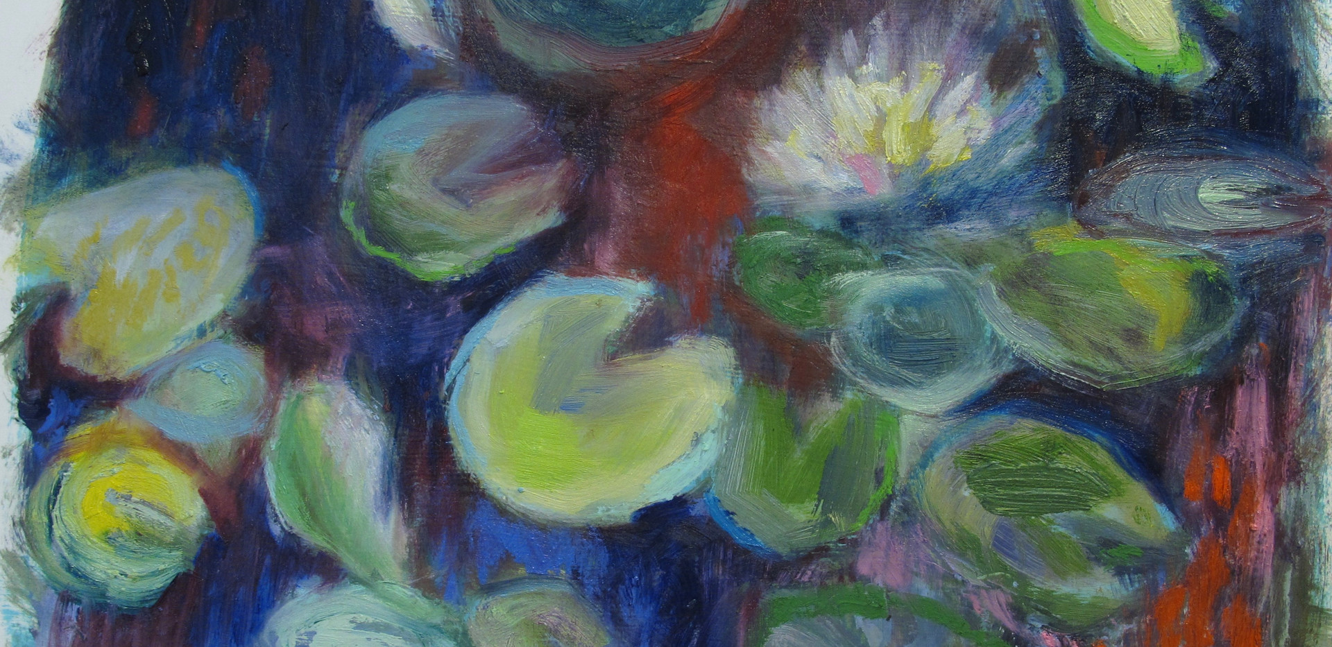 floating world, innisfree garden... oil sticks on canvas paper