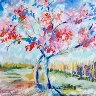 "16 x 20"" oil sticks over pastel, after Van Gogh"