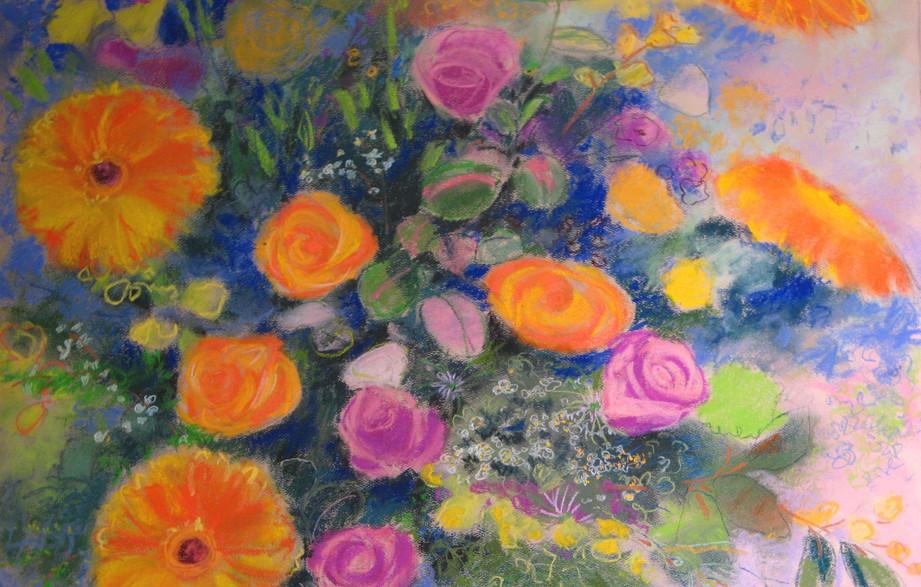 roses, gerbera daisies and greenery