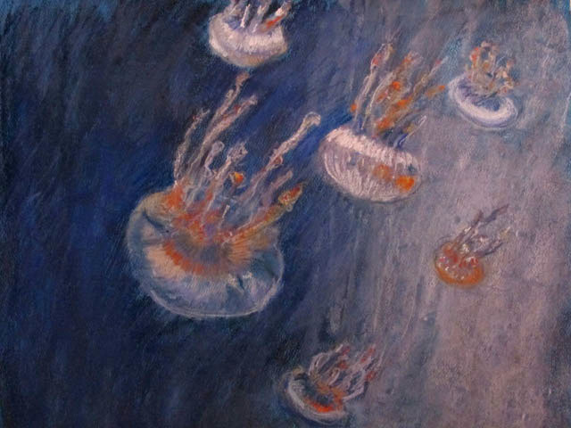 jellyfish in deep ocean - pastel