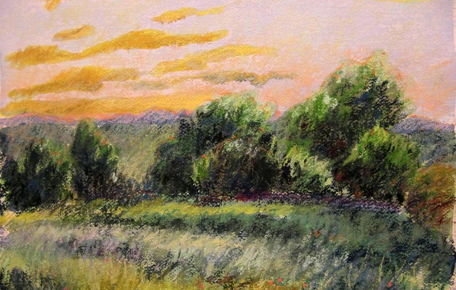 field at dusk, golden clouds