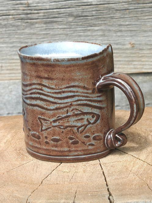 10 oz. Stoneware mug - trout stream /cobalt shino satin glaze