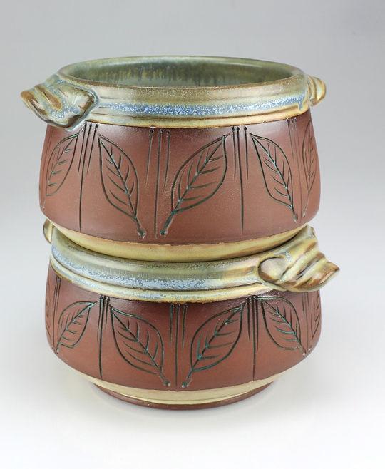 paired-leaf chilli bowls - #B2002-#B2003