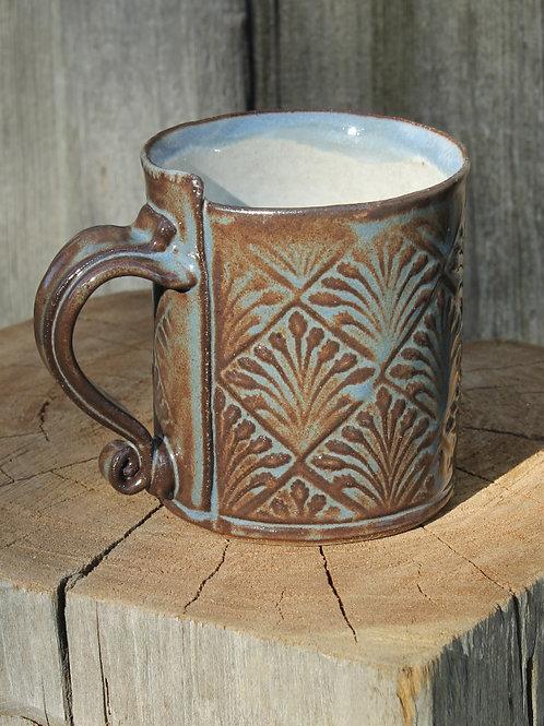 10 oz. Stoneware mug - wheat motif /cobalt shino satin glaze