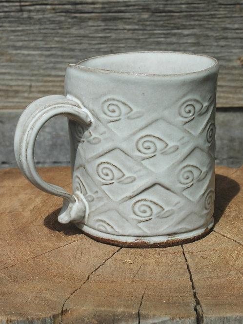 10 oz.  Stoneware mug - satin white / snail motif