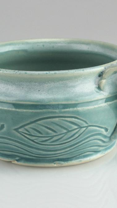 water and leaf mug