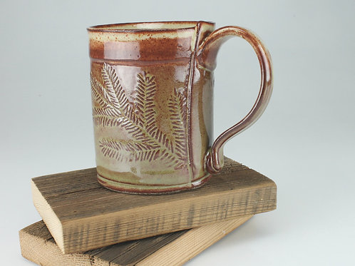 12 oz. Mug - hemlock motif in olive green
