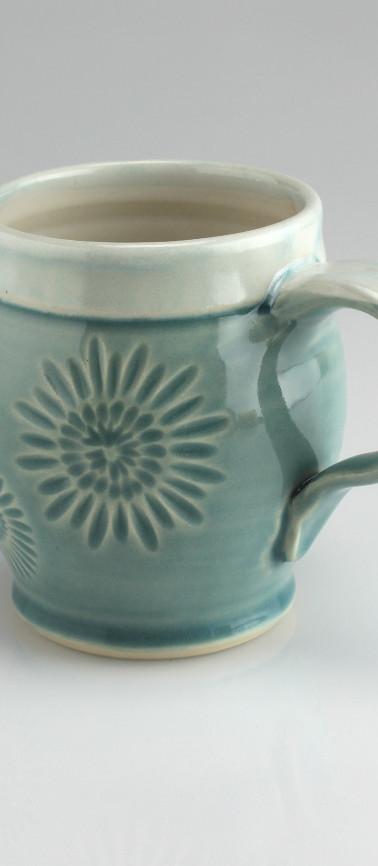 flower blue mug