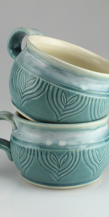 sprout blue mugs