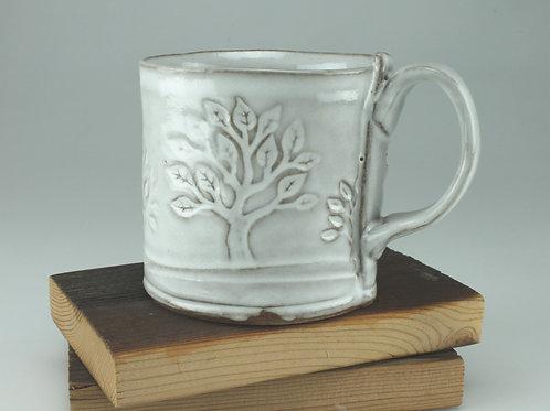 12 oz. Mug - tree motif in white