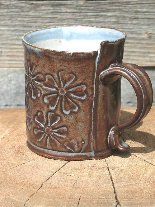 10 oz. Stoneware mug -  flower motif / cobalt shino satin glaze