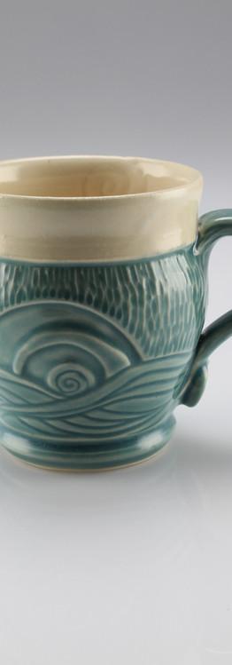 waves and spiral mug