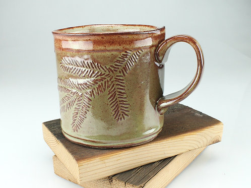 12 oz. Mug - hemlock motif in olive green
