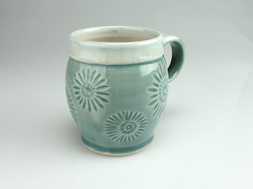 14. oz. Mug - white stoneware, blue flowers
