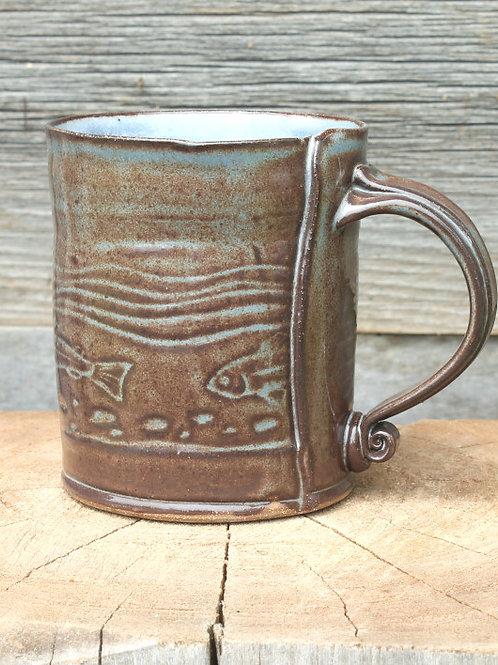 14 oz. Stoneware mug - trout stream / cobalt shino satin glaze