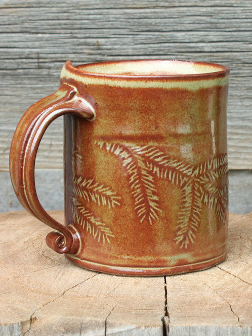 14 oz.  stoneware mug - Hemlock motif /olive shino glaze