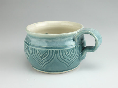 12 oz. Mug - white stoneware , blue sprouts