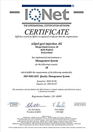 IQ NET Zertifikat