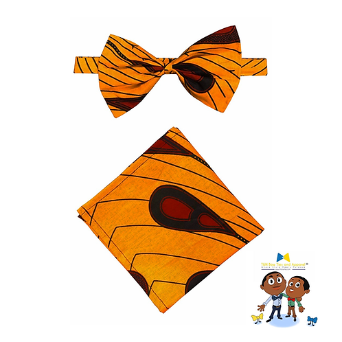 AFRICAN PRINT PRE-TIED BOW TIE (ADULT SIZE) WITH MATCHING HANDKERCHIEF