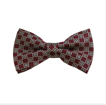 MEN'S SILVER, WHITE AND MAROON GEOMETRIC WOVEN PRE-TIED BOW TIE