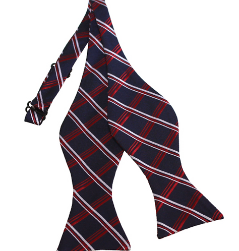 NAVY, WHITE AND RED PLAID WOVEN SELF TIE BOW TIE