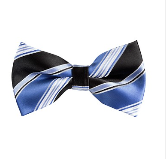 MEN'S STEEL BLUE AND BLACK MULTI STRIPED WOVEN PRE-TIED BOW TIES