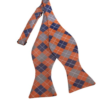PEACH CHECKERED WOVEN SELF TIE BOW TIE