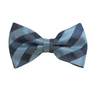 ADULT PRE-TIED SKY BLUE, GREY AND BLUE-GREY CHECKERED WOVEN BOW TIE