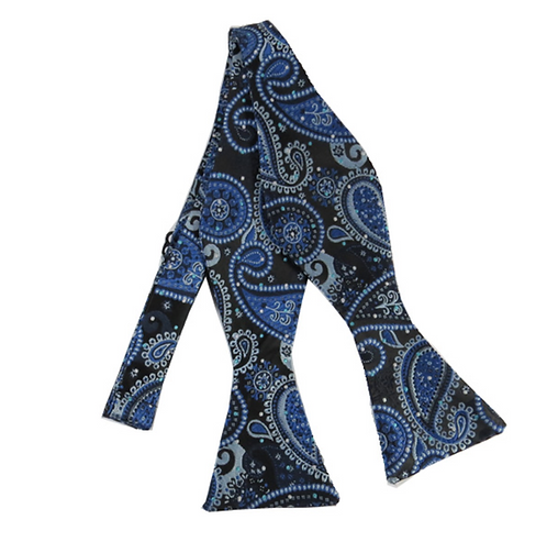 ADULT BLUE & BLACK PAISLEY WOVEN SELF TIE BOW TIE