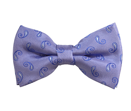 ADULT WHITE & STEEL BLUE-GREY PAISLEY WOVEN PRE-TIED BOW TIE