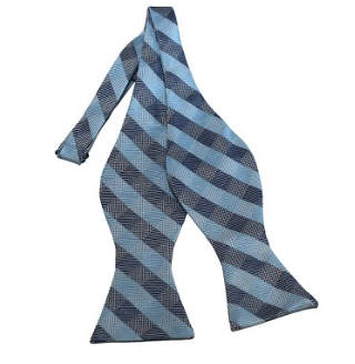 MEN'S SKY BLUE, GREY AND BLUE-GREY CHECKERED WOVEN SELF TIE BOW TIE