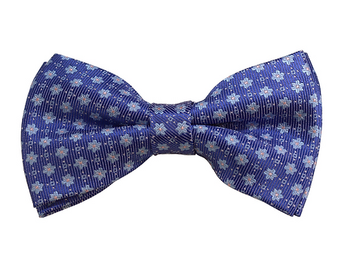 ADULT SKY BLUE W/ PINK DOT AND STEEL BLUE FLORAL WOVEN PRE-TIED BOW TIE