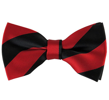 Men's Pre-Tied Black and Red College Stripe Bow Tie
