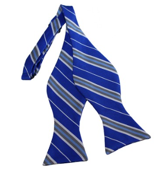 SILVER, WHITE AND ROYAL BLUE STRIPED WOVEN SELF TIE BOW TIE