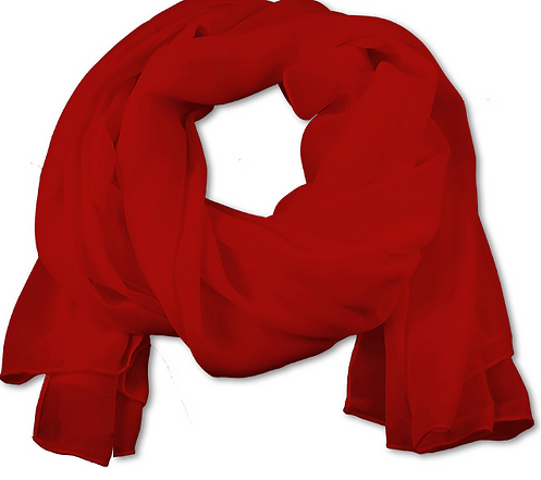 Women's Red Chiffon Scarf