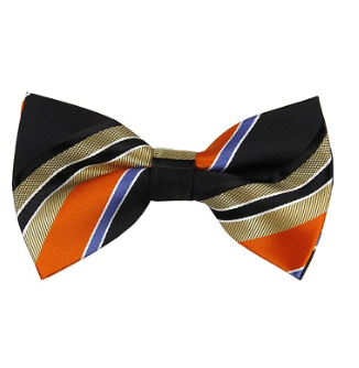MEN'S ORANGE / BLACK STRIPE WOVEN PRE-TIED BOW TIE