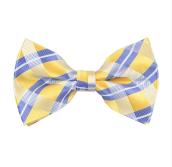 STEEL BLUE AND YELLOW STRIPED PLAID WOVEN PRE-TIED BOW TIE