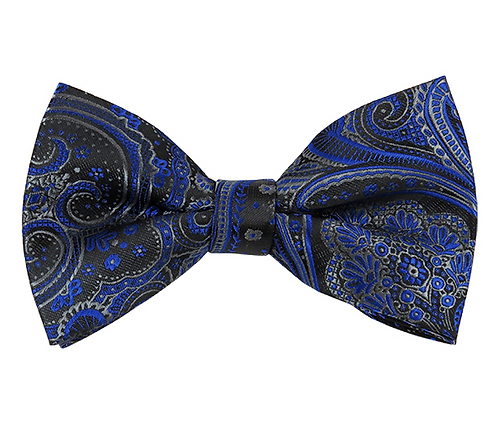 MEN'S ROYAL BLUE & GRAY ON BLACK BIG FLORAL PAISLEY WOVEN PRE-TIED BOW TIE