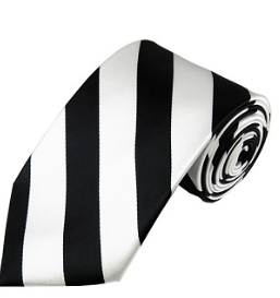 BLACK AND WHITE STRIPE WOVEN MEN'S NECKTIE