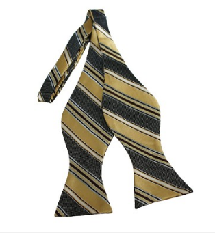 ADULT SIZE HONEY, BLACK AND LIGHT BROWN STRIPED WOVEN SELF TIE BOW TIE