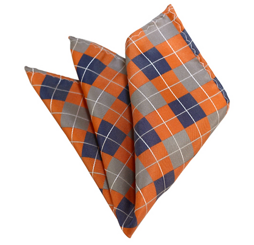 SILVER, BLUE-GREY AND PEACH CHECKERED WOVEN HANDKERCHIEF (Match for Self Tie)