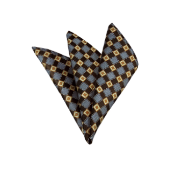 HONEY GOLD / BROWN AND PERIWINKLE CROSS CHECK WOVEN HANDKERCHIEF