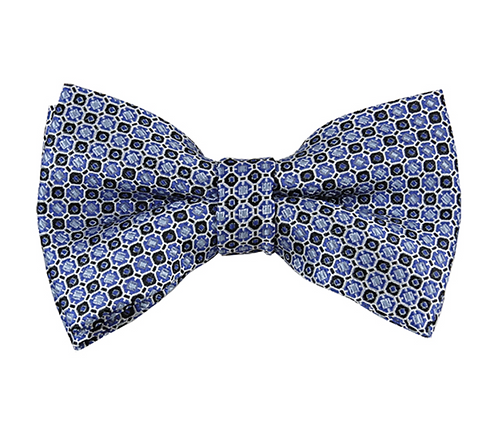 BLUE AND BLACK GEOMETRIC DOTS WOVEN PRE-TIED BOW TIE