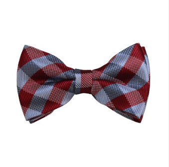 MEN'S RED, GREY AND SILVER CHECKERED WOVEN PRE-TIED BOW TIE