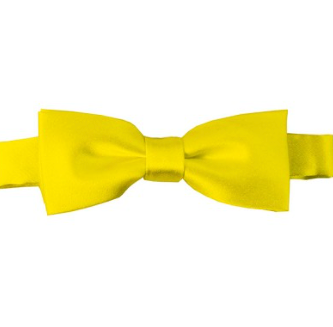 KIDS SOLID LEMON YELLOW PRE-TIED BOW TIE