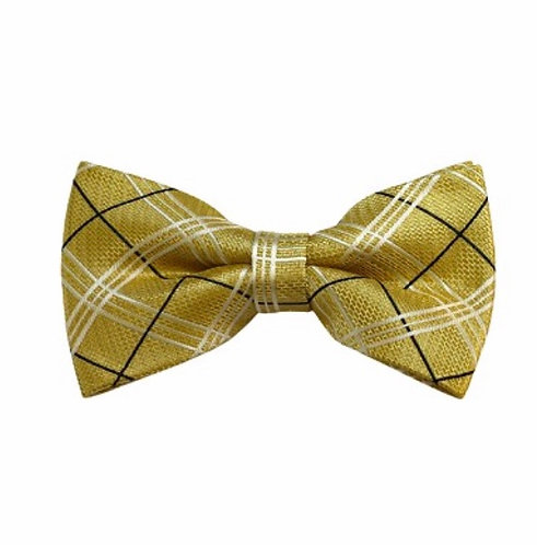 ADULT HONEY GOLD, BLACK & WHITE WOVEN PRE-TIED BOW TIE
