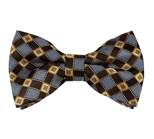 MEN'S HONEY GOLD / BROWN AND PERIWINKLE CROSS CHECK WOVEN PRE-TIED BOW TIE