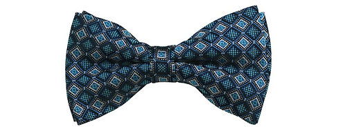 MEN'S PRE-TIED GREY, BLACK AND TEAL GREEN GEOMETRIC WOVEN BOW TIE