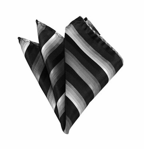 CHARCOAL TO WHITE FADE AND BLACK STRIPED WOVEN HANDKERCHIEF