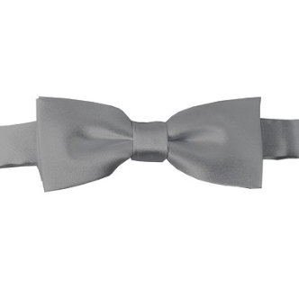 KIDS SOLID SILVER PRE-TIED BOW TIE